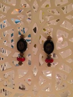 Carved Black Czech Glass and Cranberry Earrings by MeiCustosAngele on Etsy