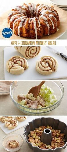 Everyone loves the apple-cinnamon flavor especially in monkey bread! This easy recipe for Apple-Cinnamon Monkey bread is made from cinnamon rolls, apples and cinnamon sugar. Perfect for Thanksgiving o (Christmas Bake Cinnamon Rolls) Apple Monkey Bread, Cinnamon Monkey Bread, Apple Bread, Cinnamon Butter, Apple Pie, Banana Bread, Apple Recipes, Fall Recipes, Bon Appetit