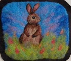 Hello Gentle Soft Bunny Rabbit Needle Felted Wool by TheMoonGoat, $50.00