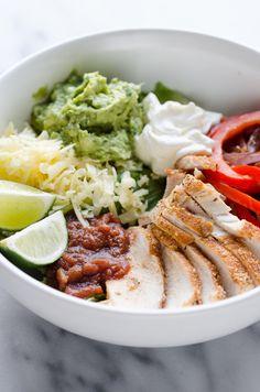 Chicken Fajita Salad Bowls - Recipe | Supper Ideas | Dinner Ideas |