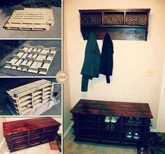 Entry coat rack, shoe rack, diy, pallets, crates