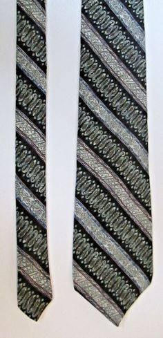 "Men's Claiborne 100% Silk Tie Black Brown Blue Sage 57"" L 4"" W EUC #Claiborne #Tie"