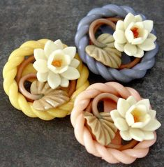 Wonderful Weeber buttons - Vintage Celluloid Floral, Easter Basket style.