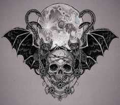 halloween drawing - Idea for chest piece tattoo - Bat Tattoo - Skull Tattoo - Tattoo vorlagen - Skull Tattoos, Body Art Tattoos, Sleeve Tattoos, Arabic Tattoos, Dragon Tattoos, Chest Piece Tattoos, Pieces Tattoo, Chest Tattoo Bat, Halloween Tattoo