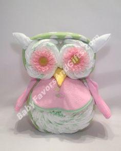 Kooky-Owl Diaper Cake http://babyfavorsandgifts.com/kookyowl-diaper-cake-p-420.html by BabyFavorsAndGifts.com