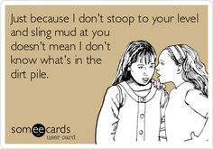 Just because I don't stoop to your level and sling mud at you doesn't mean I don't know what's in the dirt pile.