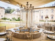 [ Top Chandelier Centerpieces Weddings Tall Crystal Column Wedding 17 ] - Best Free Home Design Idea & Inspiration Wedding Table Centerpieces, Wedding Decorations, Table Decorations, Wedding Ideas, Glow Party Supplies, Chandelier Centerpiece, Table Settings, Home And Garden, House Design