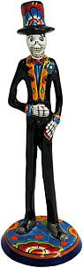 This macabre Day of the Dead groom has been richly painted in classic Talavera motifs. Each meticulously handmade figure comes from Dolores Hidalgo, Mexico, and embodies all the colorful charm of Mexican Talavera.