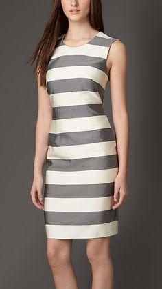 Burberry London Striped Silk Blend Dress - A non-stretch striped silk blend dress with a v-back.  Discover the women's dress collection at Burberry.com