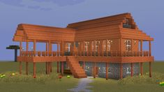 Minecraft - How to build a wooden savanna house Casa Medieval Minecraft, Cute Minecraft Houses, Minecraft House Tutorials, Minecraft Houses Survival, Minecraft Plans, Minecraft Room, Minecraft Houses Blueprints, Minecraft House Designs, Minecraft Tutorial
