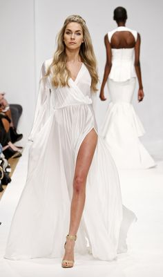 A model walks the runway during the Michael Costello fashion show during Mercedes-Benz Fashion Week Fall 2014 at Helen Mills Event Space on February 8, 2014 in New York City.