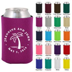 100 Custom Wedding Koozies - Palm Tree Beach Theme - Personalized  Favors (1769) on Etsy, $99.00