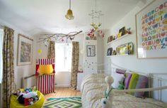 Happy room. Love the bright colors, the mobile, the ABC print, the books, the bed, the floors. Such a great room for a child.