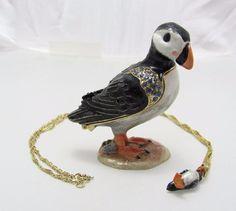 New Trinket Box Gift Crystals Puffin Bird Necklace