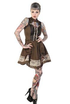 Robe marron rayé noir steampunk avec dentelle blanche et bretelles avec col > STEAMPUNK STORY - BANNED052