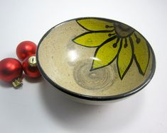 Items similar to Stoneware Bowl - Ceramic Serving Bowl - Pottery Bowl - Yellow Sunflower - Zen Doodle - Rustic Decor - Small Serving Bowl on Etsy Earthenware Clay, Ceramic Clay, Ceramic Bowls, Stoneware, Pottery Painting, Ceramic Painting, Slab Roller, Painted Ceramic Plates, Paper Mache Crafts