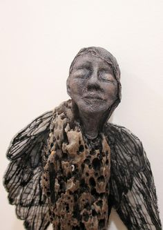 Avian - Wilma Simmons  driftwood,  air dry clay,  mono-printed and stitched organza, cheesecloth(scrim)