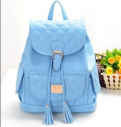 Free shipping stacy bag spring new women leather backpack female candy travel backpacks ladies plaid tassel travel casual bags $28.00