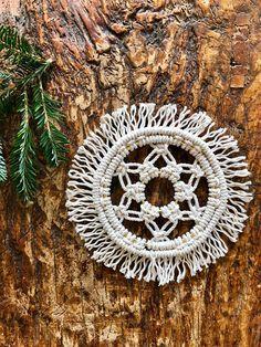 Mini Macrame Dream Catcher - Round Snowflake Wall Hanging - White Cotton Rope w/ Brass Hoops - Boho Christmas Ornament