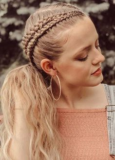 Gorgeous Double Braided Ponytail Hairstyles Ideas for 2020 Braided Ponytail Hairstyles, Braided Hairstyles For Wedding, Unique Hairstyles, Twist Hairstyles, Cornrows, Braids, Knot Braid, Hair Knot, Bobby