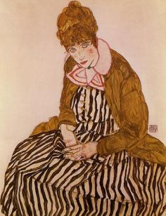 Egon Schiele [Austrian Expressionist Painter, 1890-1918] Edith Schiele, Seated, 1915 Gouache, watercolor and black crayon on paper Private collection