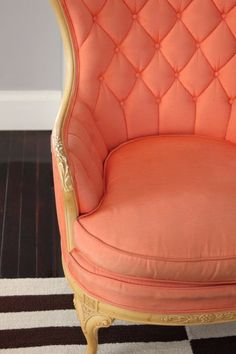 Tufted Wing Back Coral Chair. Can someone please buy this for me? Coral Chair, Coral Design, Latest Colour, Sit Back And Relax, Trendy Colors, Home Furniture, Furniture Plans, House Colors, Office Decor