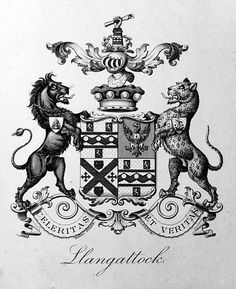 Armorial bookplate of the Rolls family, Baron Llangattock of the Hendre (UK 1892).