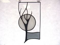 Winter night stained glass suncatcher by CGStainedGlass on Etsy, $45.00
