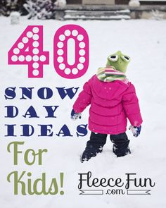 40 Snow Day Ideas for Kids - Guest Post! 40 Snow Day Ideas for Kids - Guest Post! 40 snow day ideas courtesy of fleece fun. Some great DIY ideas (crafts, projects, and more) to keep your kids busy this Winter. Snow Activities, Indoor Activities For Kids, Toddler Activities, Toddler Fun, Summer Activities, Outdoor Activities, Snow Much Fun, Snow Fun, Winter Fun