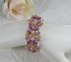 Woven Pearl Bracelet in Swarovski ABx2 by IndulgedGirl on Etsy