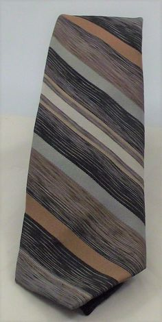 "Wembley Tie Men's necktie traditional black tan grey silver 57"" polyester mint  #Wembley #NeckTie #Everyday"