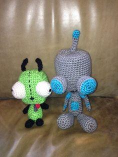 Diy craft crochet invader zim: gir the dog and gir the robot amigurumi dolls