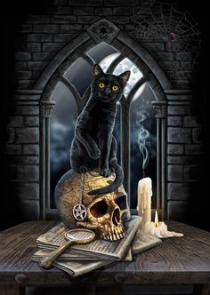 Lisa Parker art - cat artist and gallery magical cat artworks, wolves, dragons, unicorns and more. Halloween Artwork, Halloween Pictures, Halloween Cat, Holidays Halloween, Cat Company, Magic Cat, Black Cat Art, Black Cats, Image Chat