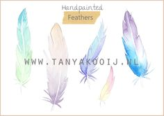 Printable feathers for journals, blogs, as part of your logo or businesscard... The possibilities are endless!    Aquarel, Watercolor, clipart, illustration, custom design, logo, blog, webshop, journal, art print
