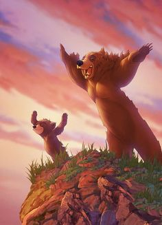 """Brother Bear is a story about a man becoming a Bear to learn how his pendent relates to him. """"The Bear of Love"""". The man meets a little cub named Coda and through out the movie the man looks out for Coda. This movie is kind of like my brother[. Disney Pixar, Disney Animation, Disney And Dreamworks, Disney Magic, Disney Art, Animation Movies, Disney Films, Disney Movie Characters, Image Emotion"""