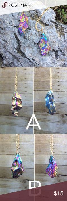"NEW ListingStone w/ iridescent color necklace Natural stone necklace with iridescent coloring. Two necklaces to choose from, each shown separately with a front and back picture, since the coloring varies across the stone. Necklace is 32"" and the pendants are approximately 2"" long. Brand new, packaging opened to shown necklace detail. Not interested in trades. Jewelry Necklaces"