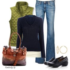 The green gives the pop of color to liven up the usual black sweater and jeans.  Love it