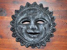 Vintage Mexican Folk Art Happy Sun Face 5 Round Pottery Wall Plaque Decor by bohemiangypsychicago on Etsy Vintage Wall Art, Vintage Walls, Happy Sun, Mexican Folk Art, Wall Plaques, Pottery Art, Lion Sculpture, Super Cute, Statue