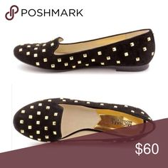 Michael Kors ⭐️ Gold Studded Suede Flat Michael Kors Aria Black Suede Flat with Gold Pyramid Studs || Genuine Leather || Worn twice || Like new - no box || Michael Kors Shoes Flats & Loafers