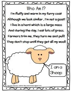 freebie includes a set of 7 riddles-poems which I wrote when I was teaching my MEGA FARM ANIMAL THEME PACK. These poems are my original work and I used them with very younger Kindergarten students as a part of an oral comprehension-listening activity. Farm Animal Crafts, Farm Crafts, Farm Activities, Animal Activities, Writing Activities, Animal Riddles, Animal Poems, Farm Animal Songs, Farm Songs