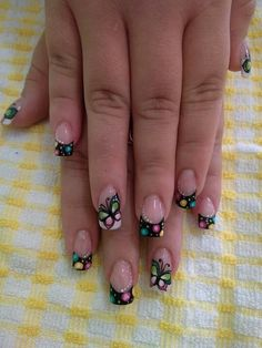 Super nails design spring flowers french tips 29 Ideas Black Nail Designs, Nail Designs Spring, Trendy Nail Art, Nail Art Diy, French Tip Nails, French Tips, Nail Patterns, Nail Games, Super Nails