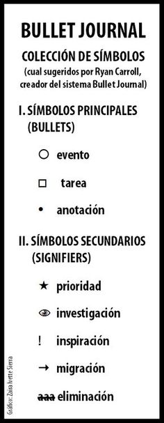 Símbolos para organizar tu bullet journal. Tips apra organizarte.