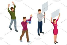 Protest Isometric People with placard and megaphones on demonstration. Demonstration, protest, strike concept.. Human Icons