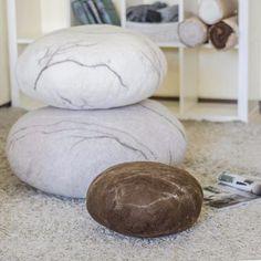 Floor pillows - Pouf - Ottoman - Floor cushions - Felted Wool Stone ...