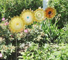 Yard Art Garden Decor Vintage Glass Flower Suncatcher by jarmfarm on Wanelo
