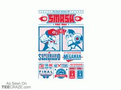 Smash Fight Night T-Shirt - http://teecraze.com/smash-fight-night-t-shirt/ -  Designed by Owlhaus    #tshirt #tee #art #mario #megaman