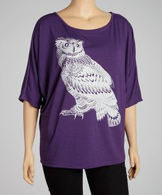 Take a look at this Purple Owl Scoop Neck Top - Plus by Clothing Showroom on #zulily today!