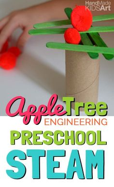 Inspired by our Chicka, Chicka Boom Boom Alphabet tree, this engineering activity will have your child experimenting with materials to build an apple tree! Preschool Apple Theme, Preschool Science, Preschool Lessons, Preschool Crafts, Preschool Apples, Apple Activities Kindergarten, Kindergarten Apples, September Preschool Themes, Preschool Farm
