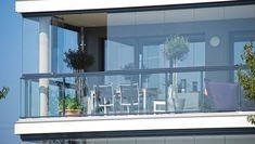 Lumon - Product - Lumon frameless retractable glass enclosure for balcony Balcony Glass Design, Glass Balcony, Balcony Railing Design, Small Balcony Decor, Terrace Design, Balcony Ideas, Ideas Terraza, Glass Curtain, Balustrades