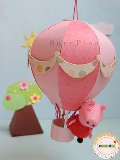 Balão decorativo, festa Peppa Pig.